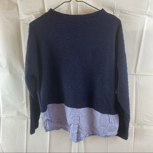 Suzannegrae Navy Blue Knit Jumper Top Size S